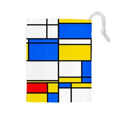 Colorful Rectangles Drawstring Pouch