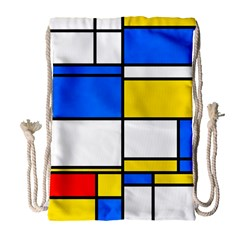Colorful rectangles Large Drawstring Bag