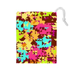 Shapes In Retro Colors Drawstring Pouch