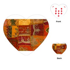 India Print Realism Fabric Art Playing Cards (heart)