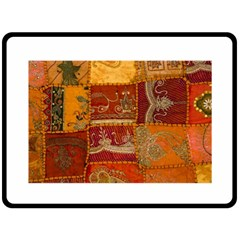 India Print Realism Fabric Art Double Sided Fleece Blanket (large)