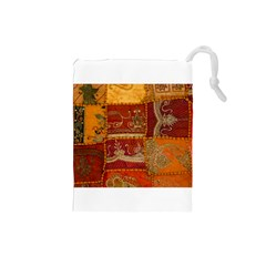 India Print Realism Fabric Art Drawstring Pouches (small)