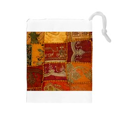 India Print Realism Fabric Art Drawstring Pouches (large)