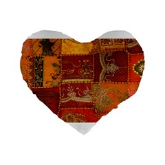 India Print Realism Fabric Art Standard 16  Premium Flano Heart Shape Cushions