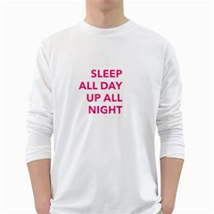 Up All Night  White Long Sleeve T-Shirts
