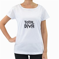 Total Diva  Women s Loose-Fit T-Shirt (White)