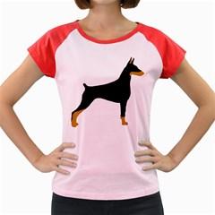 Doberman Pinscher black and tan silhouette Women s Cap Sleeve T-Shirt