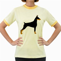 Doberman Pinscher black and tan silhouette Women s Fitted Ringer T-Shirts
