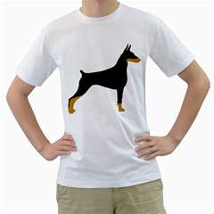 Doberman Pinscher black and tan silhouette Men s T-Shirt (White) (Two Sided)