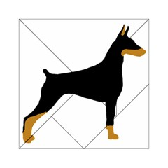 Doberman Pinscher black and tan silhouette Acrylic Tangram Puzzle (6  x 6 )