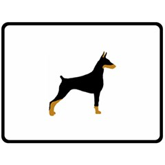 Doberman Pinscher black and tan silhouette Double Sided Fleece Blanket (Large)
