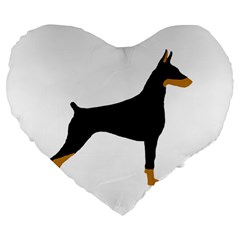 Doberman Pinscher black and tan silhouette Large 19  Premium Flano Heart Shape Cushions