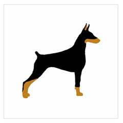 Doberman Pinscher black and tan silhouette Large Satin Scarf (Square)