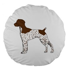 German Shorthair Pointer Silo Color Large 18  Premium Flano Round Cushions