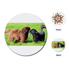 2 Newfies Playing Cards (round)