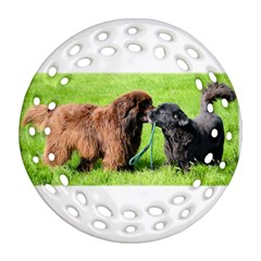 2 Newfies Round Filigree Ornament (2Side)