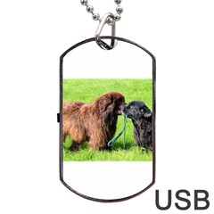 2 Newfies Dog Tag USB Flash (One Side)