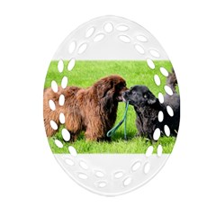 2 Newfies Ornament (Oval Filigree)