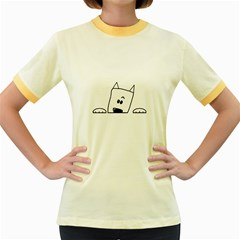 Peeping Westie Women s Fitted Ringer T-Shirts