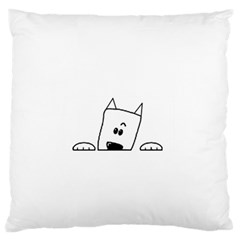 Peeping Westie Large Flano Cushion Cases (One Side)
