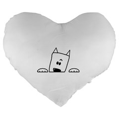 Peeping Westie Large 19  Premium Flano Heart Shape Cushions