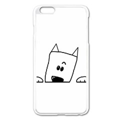 Peeping Westie Apple iPhone 6 Plus Enamel White Case