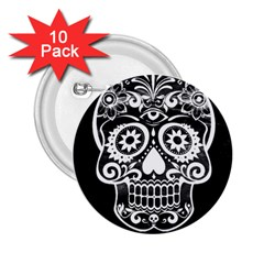 Skull 2 25  Buttons (10 Pack)