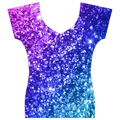Glitter Ocean Bokeh Women s V-Neck Cap Sleeve Top