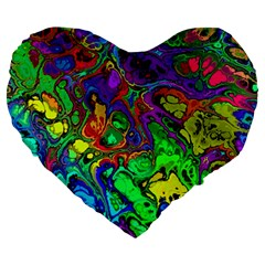 Powerfractal 4 Large 19  Premium Flano Heart Shape Cushions