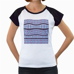 Fancy Tribal Border Pattern Blue Women s Cap Sleeve T