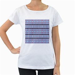 Fancy Tribal Border Pattern Blue Women s Loose Fit T Shirt (white)