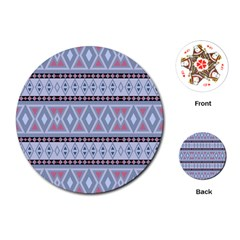 Fancy Tribal Border Pattern Blue Playing Cards (Round)