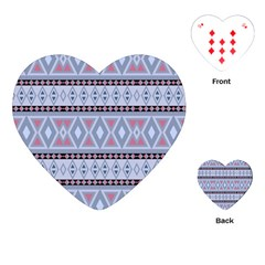 Fancy Tribal Border Pattern Blue Playing Cards (Heart)