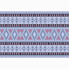 Fancy Tribal Border Pattern Blue Collage 12  X 18