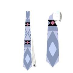 Fancy Tribal Border Pattern Blue Neckties (one Side)