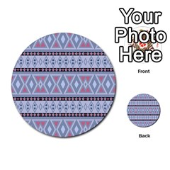 Fancy Tribal Border Pattern Blue Multi-purpose Cards (Round)