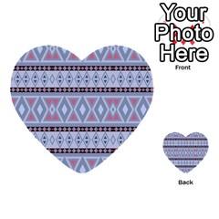 Fancy Tribal Border Pattern Blue Multi-purpose Cards (Heart)