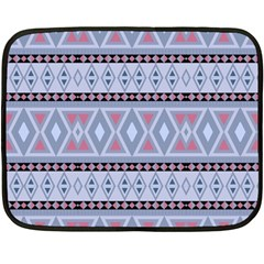 Fancy Tribal Border Pattern Blue Fleece Blanket (Mini)