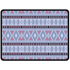 Fancy Tribal Border Pattern Blue Fleece Blanket (Large)