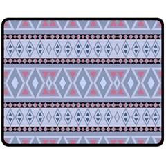 Fancy Tribal Border Pattern Blue Fleece Blanket (medium)