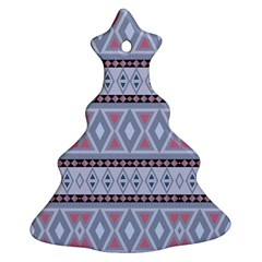 Fancy Tribal Border Pattern Blue Ornament (Christmas Tree)