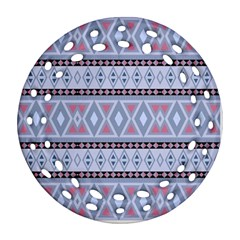 Fancy Tribal Border Pattern Blue Round Filigree Ornament (2side)