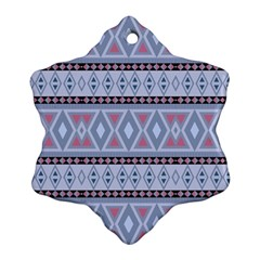 Fancy Tribal Border Pattern Blue Snowflake Ornament (2 Side)