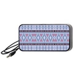 Fancy Tribal Border Pattern Blue Portable Speaker (black)