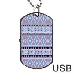 Fancy Tribal Border Pattern Blue Dog Tag USB Flash (Two Sides)