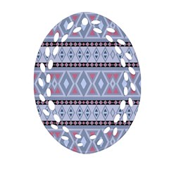 Fancy Tribal Border Pattern Blue Oval Filigree Ornament (2-Side)