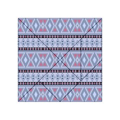 Fancy Tribal Border Pattern Blue Acrylic Tangram Puzzle (4  x 4 )