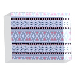 Fancy Tribal Border Pattern Blue 5 x 7  Acrylic Photo Blocks