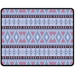 Fancy Tribal Border Pattern Blue Double Sided Fleece Blanket (medium)