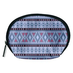 Fancy Tribal Border Pattern Blue Accessory Pouches (Medium)